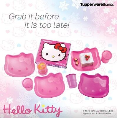 New Tupperware Hello Kitty Plates (4) Sweet Pink Tumblers (4) 250ml