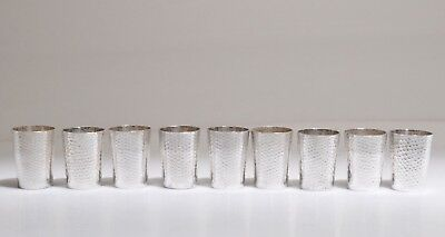 (9) SIGNED Antique Chinese Sterling Silver Liquor Cordial Cups 204gr