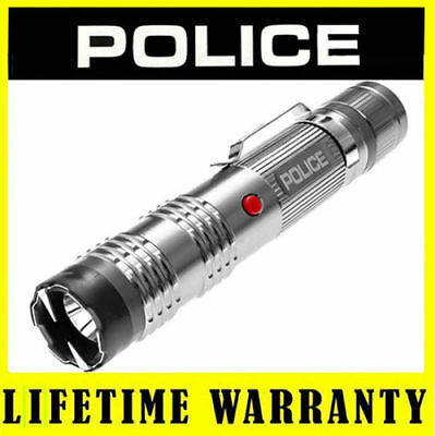 STUN GUN POLICE M12 Silver 58 BV Metal Rechargeable LED Flashlight + Taser Case