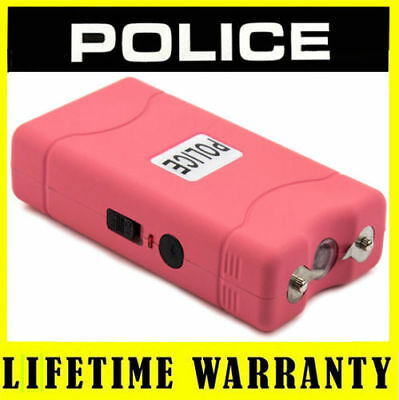 POLICE Stun Gun Mini 800 Pink 30 Billion Rechargeable LED Flashlight + Holster