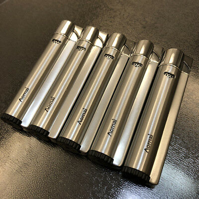 5Pcs Windproof Jet Torch Refillable Butane Viewable Metal Cigar Lighter Silver