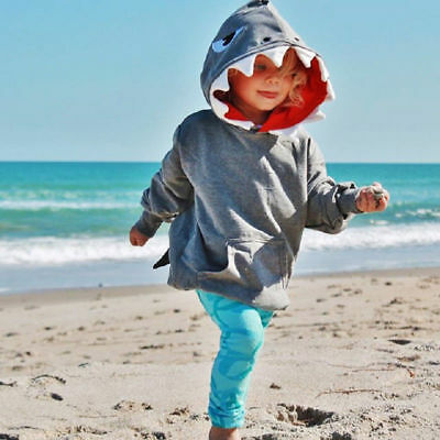US Toddler Kids Boys Girls Shark Hooded Tops Hoodie Jacket Coat Outerwear Casual