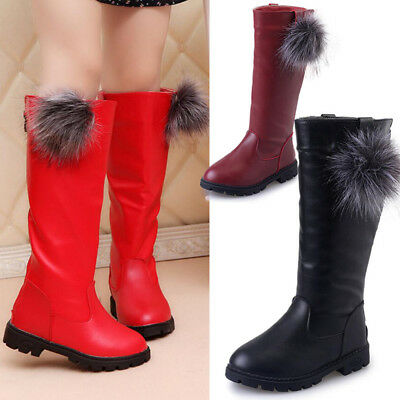 Kids Girls Pom Knee High Riding Boots Winter Casual Flats Low Heels Biker Shoes
