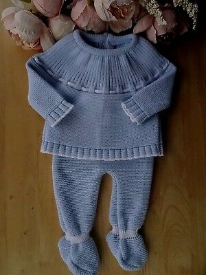 Spanish Style Traditional 2Pc Baby Boy Fine Knit Occasion Set Top Bottom 0-3-6-9