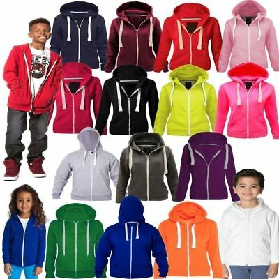 Girls Boys Children Fleece Plain Hoodie Kids Hooded Jacket Zip Up Warm Hoody Top