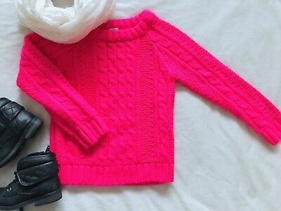 Carters Girls Size 3t Knit Sweater Bright Neon Pink Purple Pull Over Sweater
