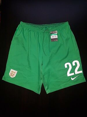 Men's Nike England Goalkeeper Shorts Football Soccer Green Size XL Number  22