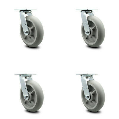 "SCC 8"" x 2"" Thermoplastic Rubber Wheel Swivel Casters - Set of 4"