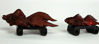 Pair of Chinese Carved Wood Koi Goldfish with Glass Eyes