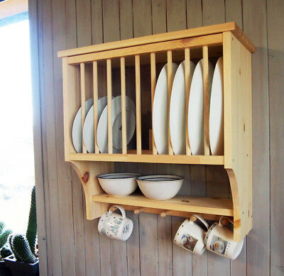 2Kitchen Plate Rack Shelf, Solid Pine Wood, Wall Mounted Wooden !