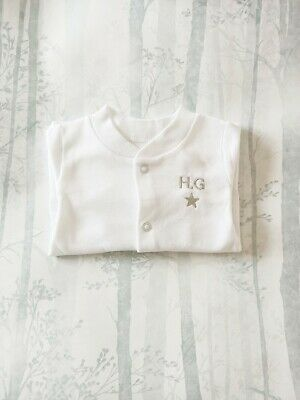 Personalised Baby Grow Sleep Suit with Embroidered Star and Children's Initials