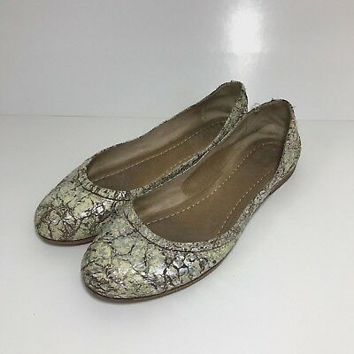 FRYE CARSON BALLET FLats Cream Silver Metallic Crackle Leder Schuhes Schuhes Leder cd5066