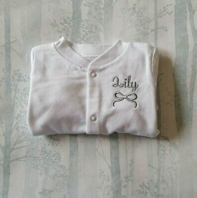 Personalised Baby Grow Sleep Suit with Embroidered Bow and Children's Name