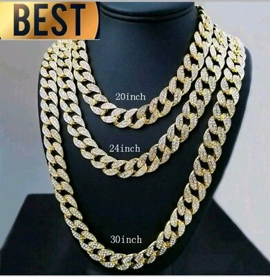 18Ct Gold PlatedFull Iced Out  Created Diamond Miami Cuban Link Chain  18 to 30