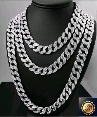 18Ct Gold PlatedFull Iced Out  Created Diamond Miami Cuban Link Chain