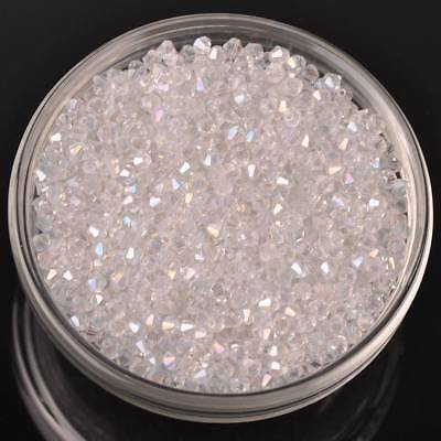 200pcs 3x2mm Wholesale Bicone Faceted Crystal Glass Loose Spacer Clear AB Beads