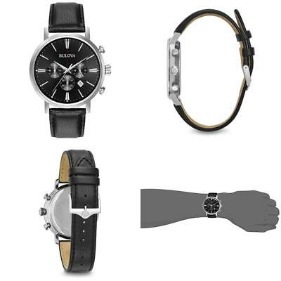 Bulova Men'S Quartz Stainless Steel And Leather Casual Watch, Color:Black (Model