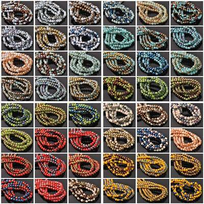 100pcs 4mm Round Half Plated Opaque Glass Loose Spacer Beads Jewelry Findings