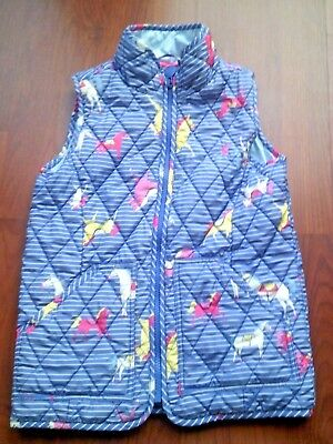 7e42776fd3 Girls Joules Blue Ponies Pony Horses Gilet Body Warmer Riding Coat Age 7  Years