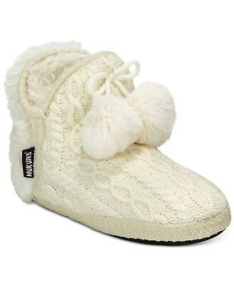 4d9c6cc4079f MUK LUKS AMIRA Women s Short Sweater Bootie Slippers House Tan Size ...