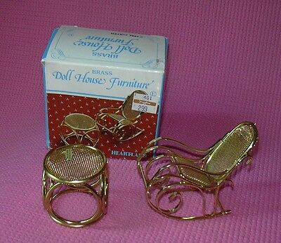 Brass Doll House Furniture Rocking Chair Foot Stool w/Box 1985 Justen 60774C