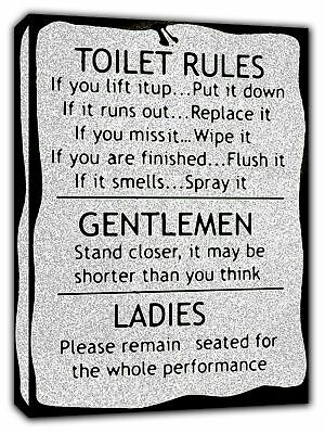 Toilet Rules Bw Picture Photo  Print On Framed Canvas Wall Art Bathroom Decor