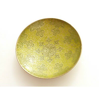 Vintage Small Green Enamel Two Tone Brass Bowl Dish Trinket Dish Incense