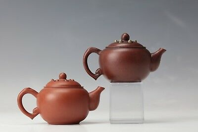Two Chinese Purple Sand Lotus seed Tea Pot with Marks
