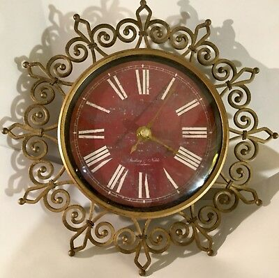 Vintage Sterling and Noble*Retro Starburst Mid Century Distressed Wall Clock