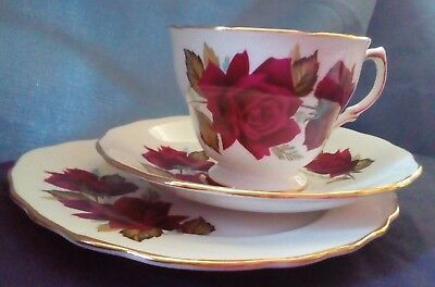 Royal Vale Bone China trio, cup, side plate and saucer, Red Rose, pattern 7978