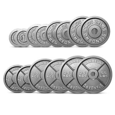 """Olympic Weight Plates Disc Cast Iron 2"""" Discs Dumbbell Barbell Bar Gym Sets"""