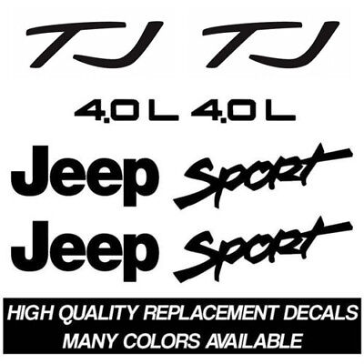 Jeep TJ Sport 4.0L Replacement Decal Kit for Fenders Sticker Set Refresh