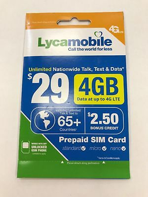 LYCAMOBILE $ 29 PLAN PRELOADED SIM Text Talk Data & Intl Calling1st Month FREE