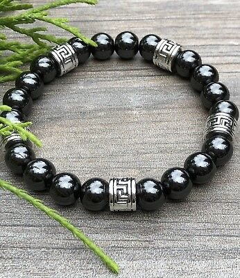 Men & Women's Unisex Magnetic Hematite Therapy & Greek Spacers Bracelet All Size