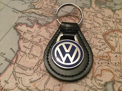 Vw Volkswagen Enamel  Black Leather Key Ring Fob Golf Beetle Tiguan Scirocco