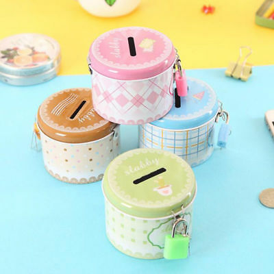 with Lock Round Piggy Bank Cute Students Money Saving Coin Storage Cartoon Box