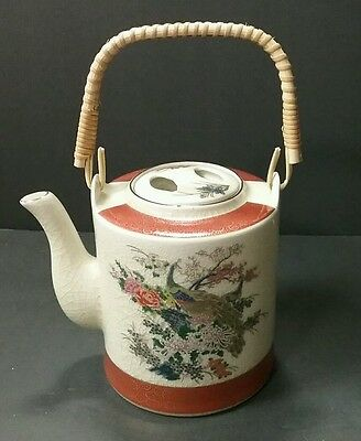 Japanese Satsuma Porcelain Tea Pot  Crackle Peacock Flower Design 1970