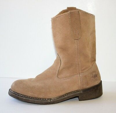e9ef3d69a1b BRAHMA DEL RIO Tan Suede LEATHER Western Roper Soft Toe Work Boots Mens  Size 6.5