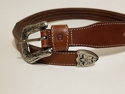 6714a290f41e9 ETIENNE AIGNER WOMEN'S Black and Brown Leather Belt w. Leather ...