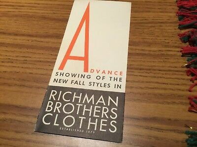 Vintage Two RICHMAN BROTHERS CLOTHES Advertising Broucher