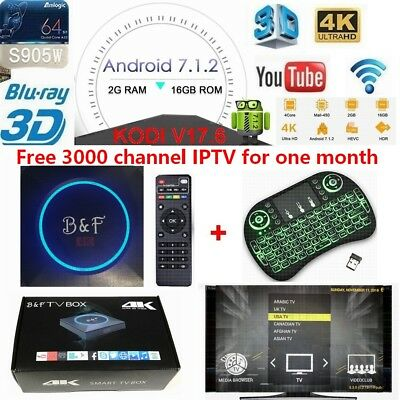 B&F 2G+16G  KODI 17.6 Free  IPTV and movie+3 color backlight Keyboard