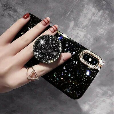 Luxury Bling Diamond Stand Holder Glitter Case Cover for iPhone XS Max XR 8 Plus