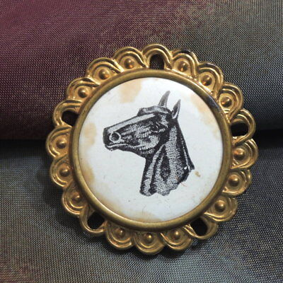 VTG METAL BUTTON Equestrian Horse Western Collectible AUNT Bs ESTATE