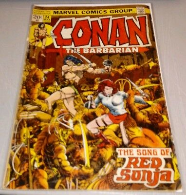 CONAN THE BARBARIAN #24 1st RED SONJA Barry Smith art lower grade GD/VG