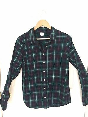 Women s J CREW Classic Flannel Shirt in Perfect Fit Green Navy Plaid Size M 225f921f7