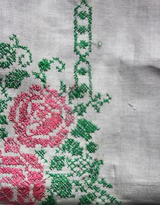 Vintage Gray, Pink, & Green Floral Cross Stitched Linen Tablecloth 49 x 50