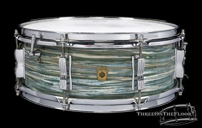 1966 Ludwig Oyster Blue Pearl Jazz Festival Snare Drum : 5 x 14