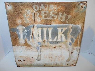 vintage collectible 14 X 14 INCH metal dairy fresh milk advertising sign