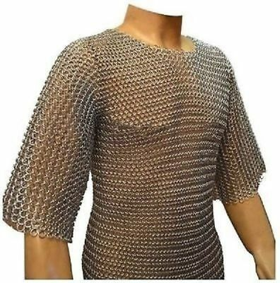Butted Chain Mail Shirt Medium Chain Mail Hauberk Oil Finish-Untreated Steel qjj
