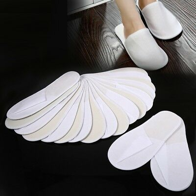 10 Pairs White Towelling Hotel Slippers Closed Toe Terry Guest Disposable Shoes